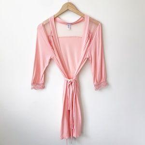 Eberjey Noor Lace Trim Robe in Rosa Pink